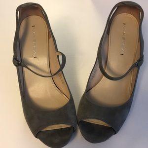 Via spiga grey suede Mary Jane heels